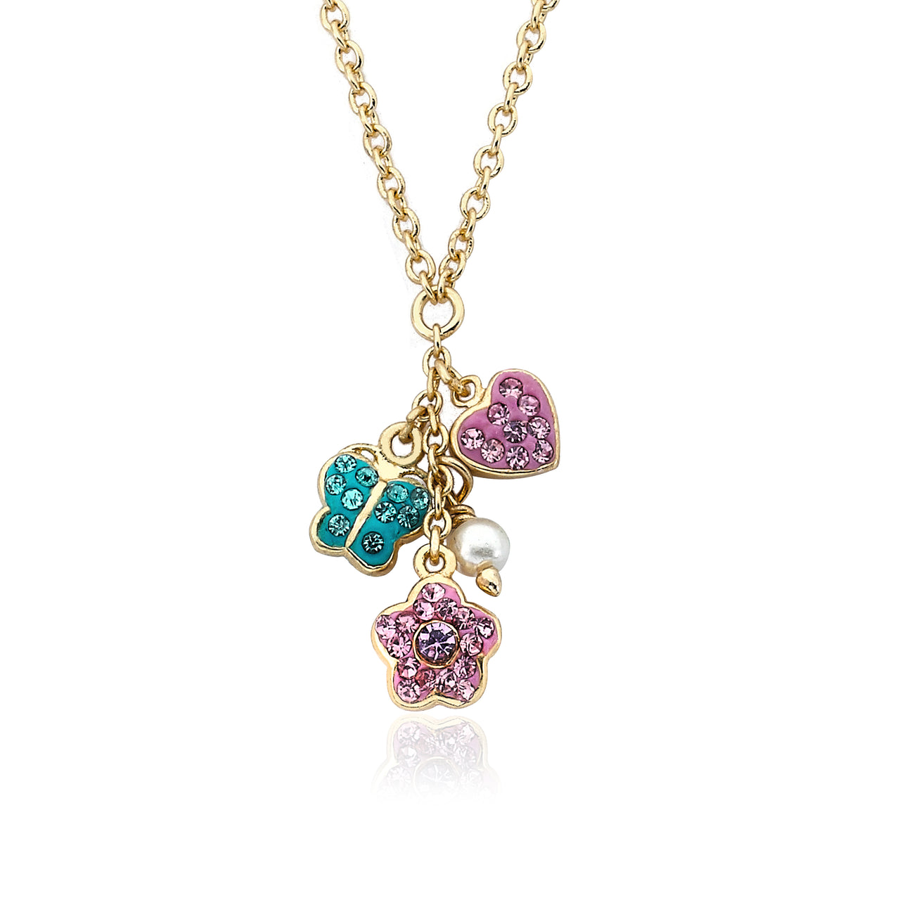 FLOWERY GLITZ Crystal Flower, Butterfly & Heart Necklace
