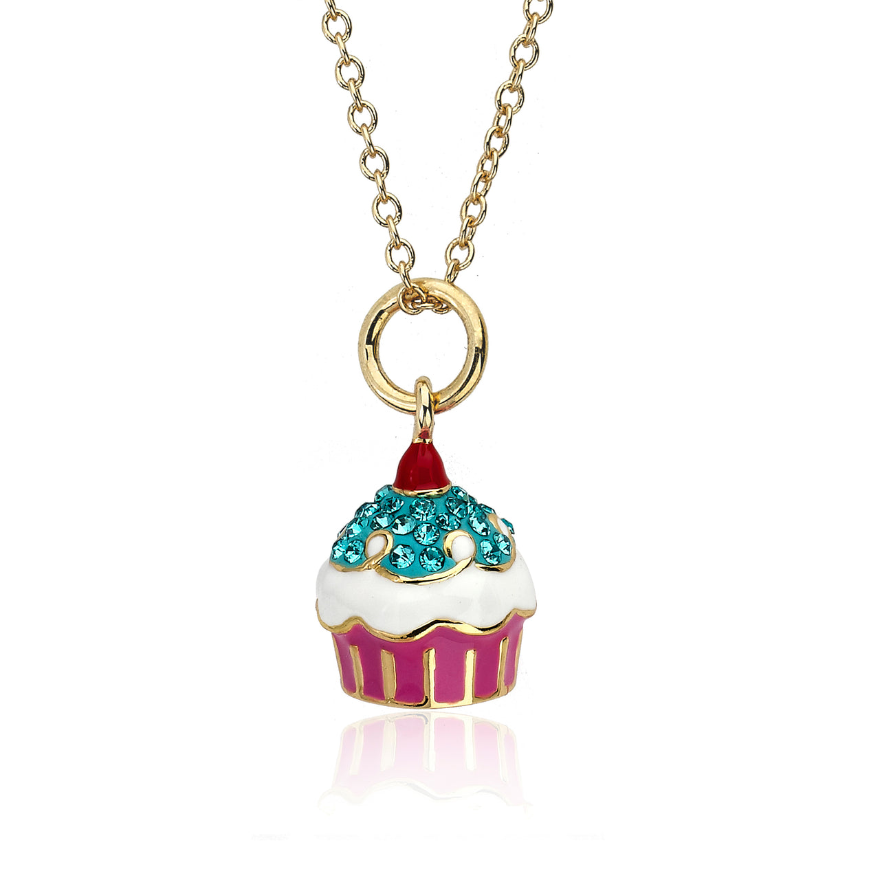 Sparkle Sweet Crystal Cupcake Necklace
