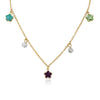 FLOWERY GLITZ Crystal Flowers & Ball Chain Necklace