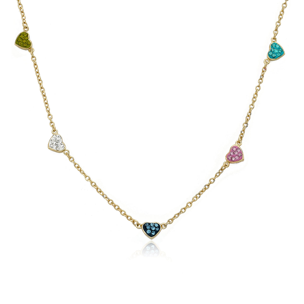 Heart Of Jewels 5 Crystal Hearts Chain Necklace