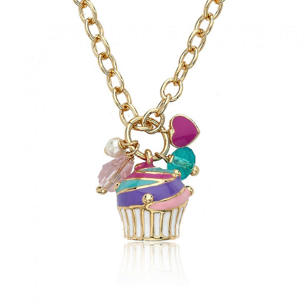 CANDYLAND Multi Flavored Swirl Cupcake Cluster Charm Necklace