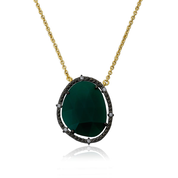 Precious Green Agate Gem Stone Pendant Necklace