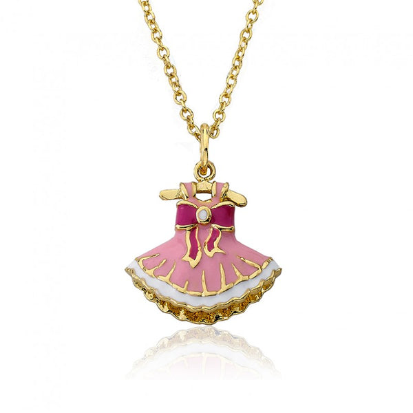 BALLET BEAUTY Bow Adorned Ballerina Dress Pendant Chain Necklace