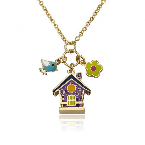 FAYE BY LMTS Lavender Enamel Birdhouse Necklace