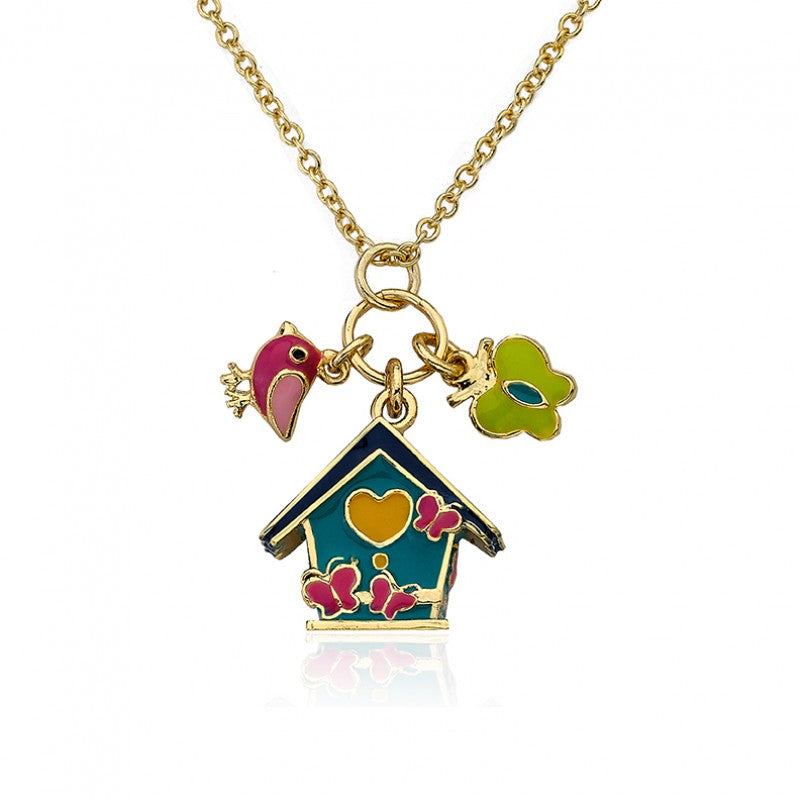 FAYE BY LMTS Aqua Enamel Birdhouse Necklace