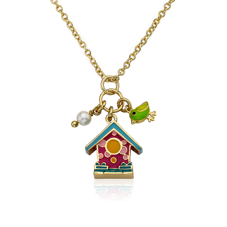 FAYE BY LMTS Hot Pink & Turquoise Birdhouse Necklace