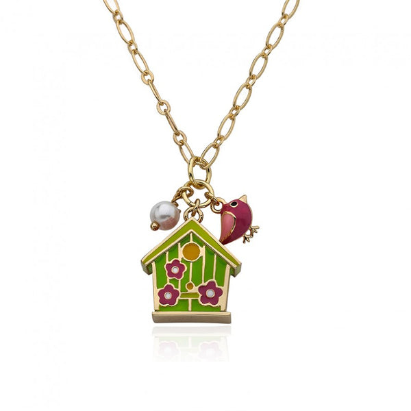 FAYE BY LMTS Lime Birdhouse & Flower Chain Necklace