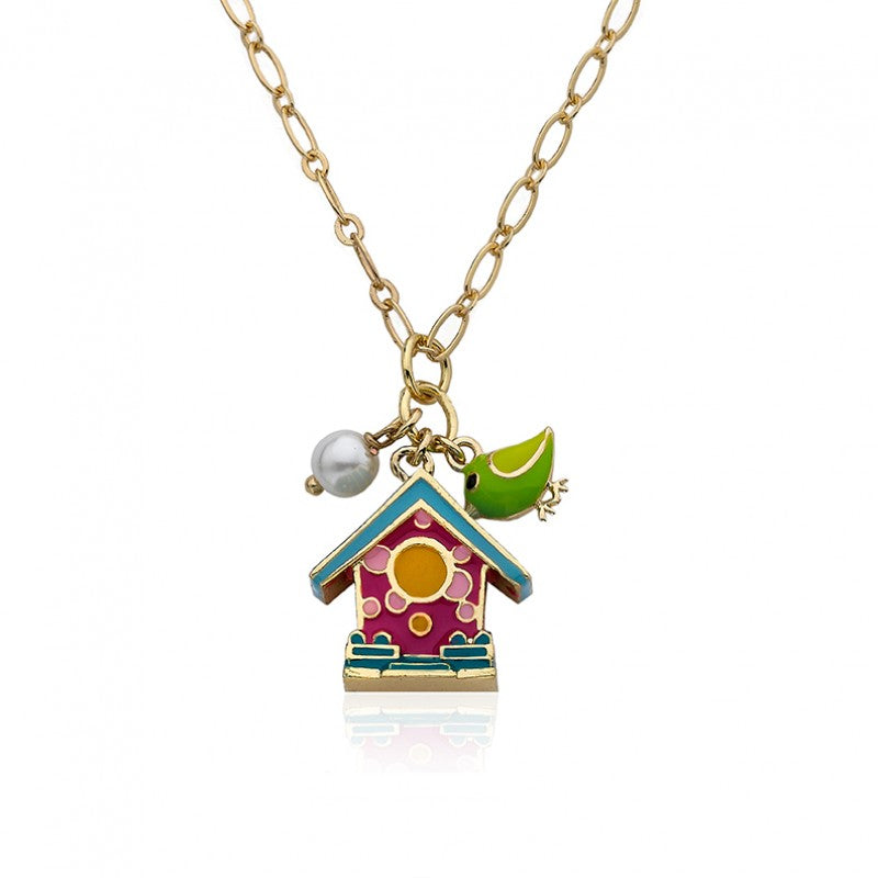 FAYE BY LMTS Hot Pink Birdhouse & Pearl Chain Necklace