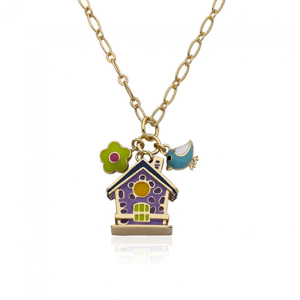 FAYE BY LMTS Lavender Birdhouse & Flower Chain Necklace