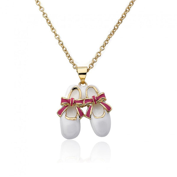 BALLET BEAUTY Ballet Shoe With Bow Pendant Chain Necklace