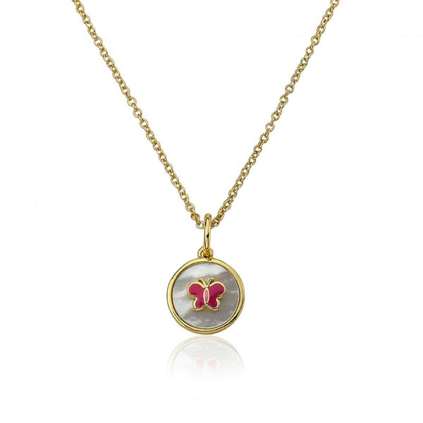 LITTLE MISS FLOWER GIRL MOP Coin With Enamel Butterfly Pendant Necklace