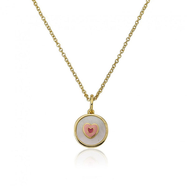 LITTLE MISS FLOWER GIRL MOP Coin With Enamel Heart Pendant Necklace