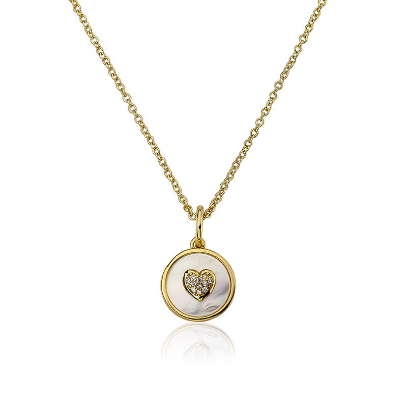 LITTLE MISS FLOWER GIRL MOP Coin With Heart Pendant Necklace