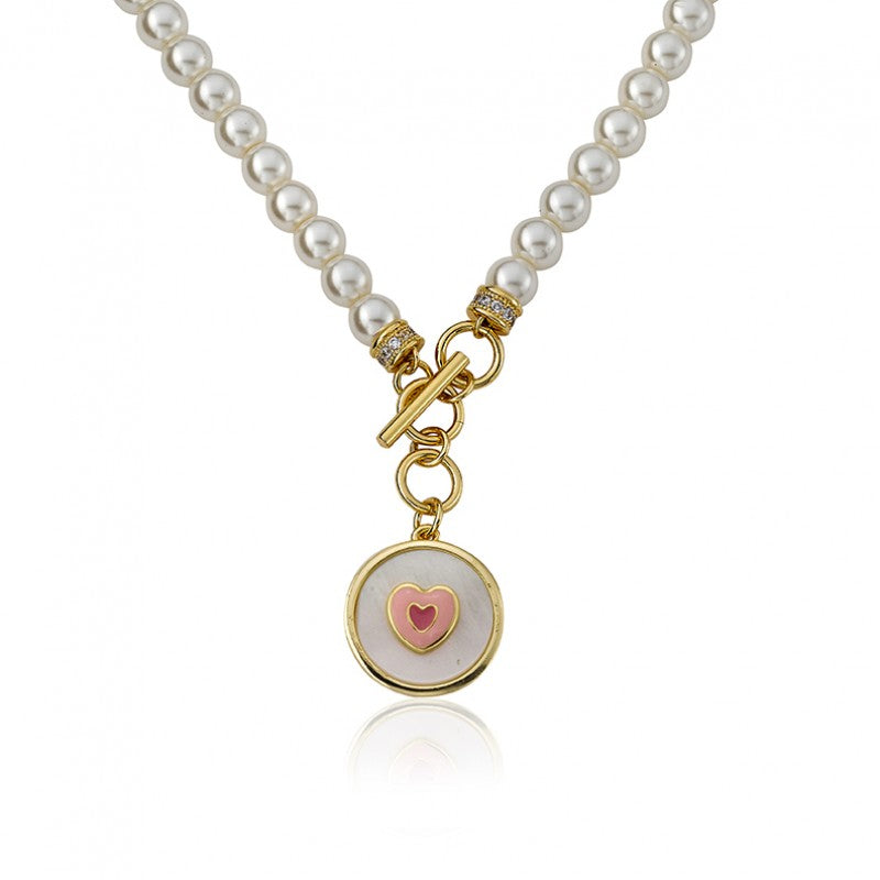 LITTLE MISS FLOWER GIRL Pearl Necklace With Enamel Heart in MOP Charm