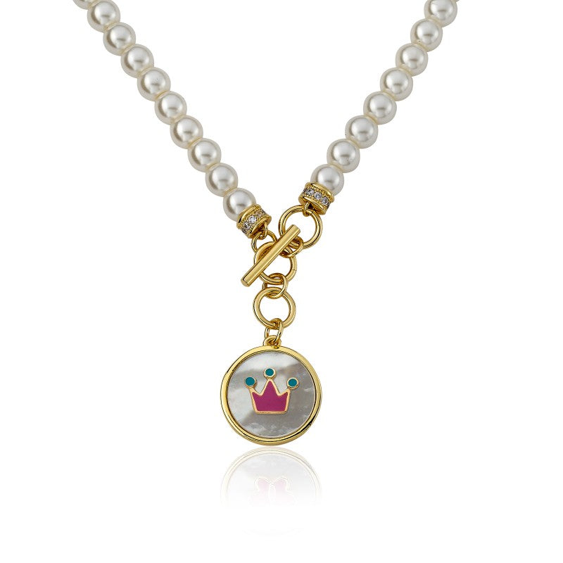 LITTLE MISS FLOWER GIRL Pearl Necklace With Enamel Crown In MOP Charm