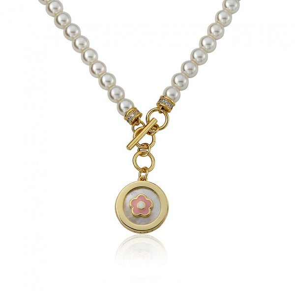 LITTLE MISS FLOWER GIRL Pearl Necklace With Enamel Flower In MOP Charm