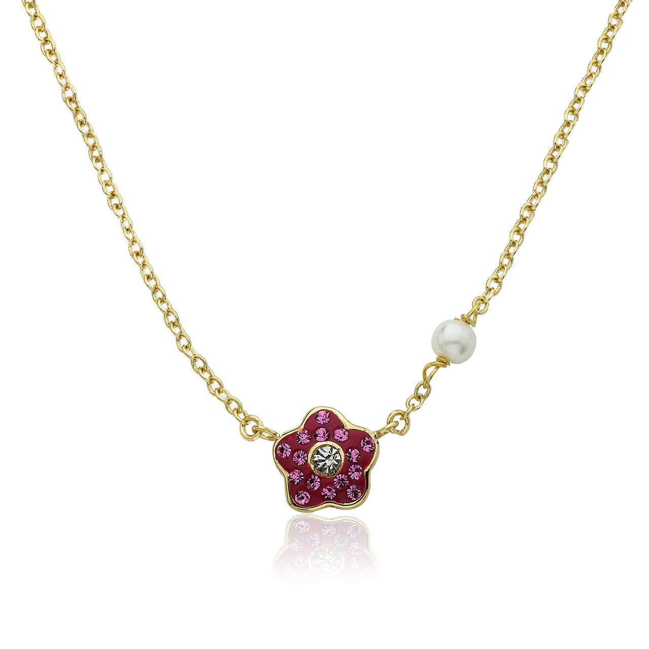 FLOWERY GLITZ Crystal Flower Necklace