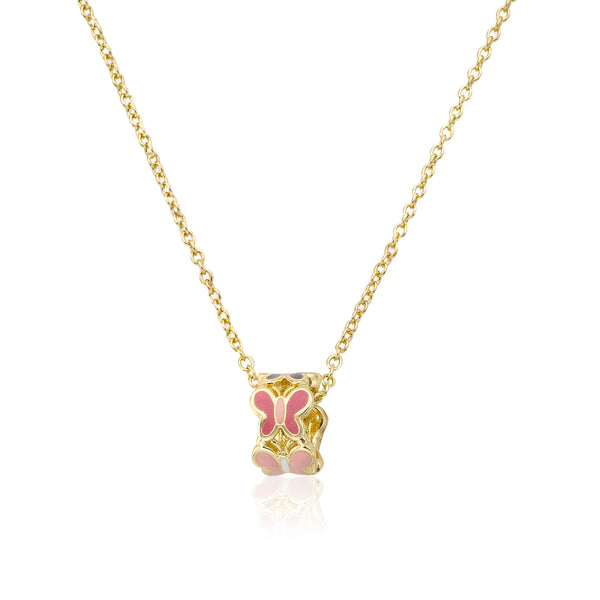 CHARMING TREATS Cut Out Butterfly Barrel Pendant Chain Necklace