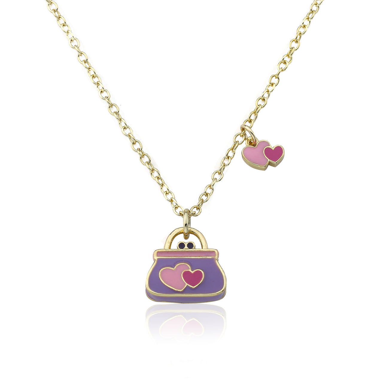 Shoebsessed Lavender Purse With Enamel Hearts Pendant Necklace