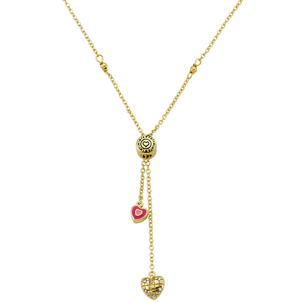 Crystal Quilted And Enamel Hearts Lariat Necklace
