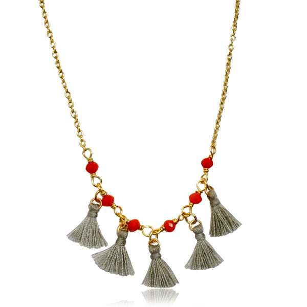 Mileez Bead & Mini Tassel Necklace