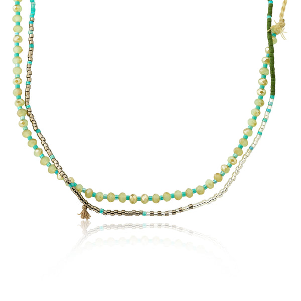 Mileez Colored Braided & Hand Beaded 3 Strand Necklace