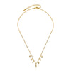 String Of Beads 14k Gold Plated Chain Necklace Accented With Cz Bezel Dangles
