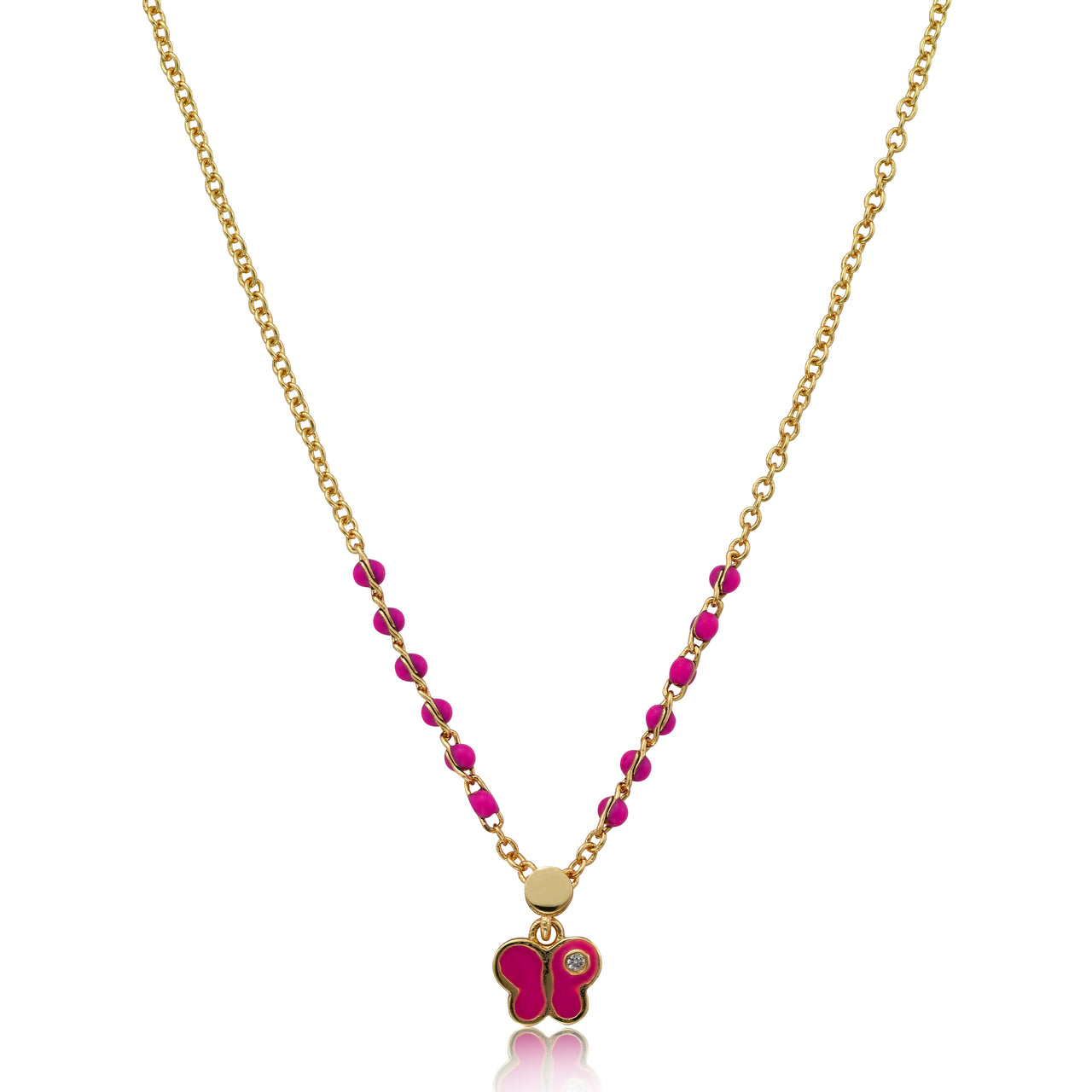 String Of Beads 14k Gold Plated Hot Pink Enamel Butterfly Dangle Chain Necklace