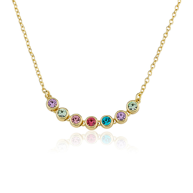 14K Gold Plated Rainbow Bezel Necklace