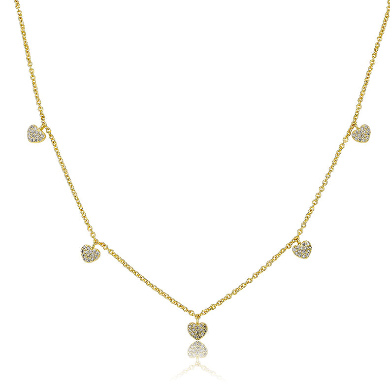LMTS Classic! 14K Gold Plated CZ Hearts Dangle Chain Necklace