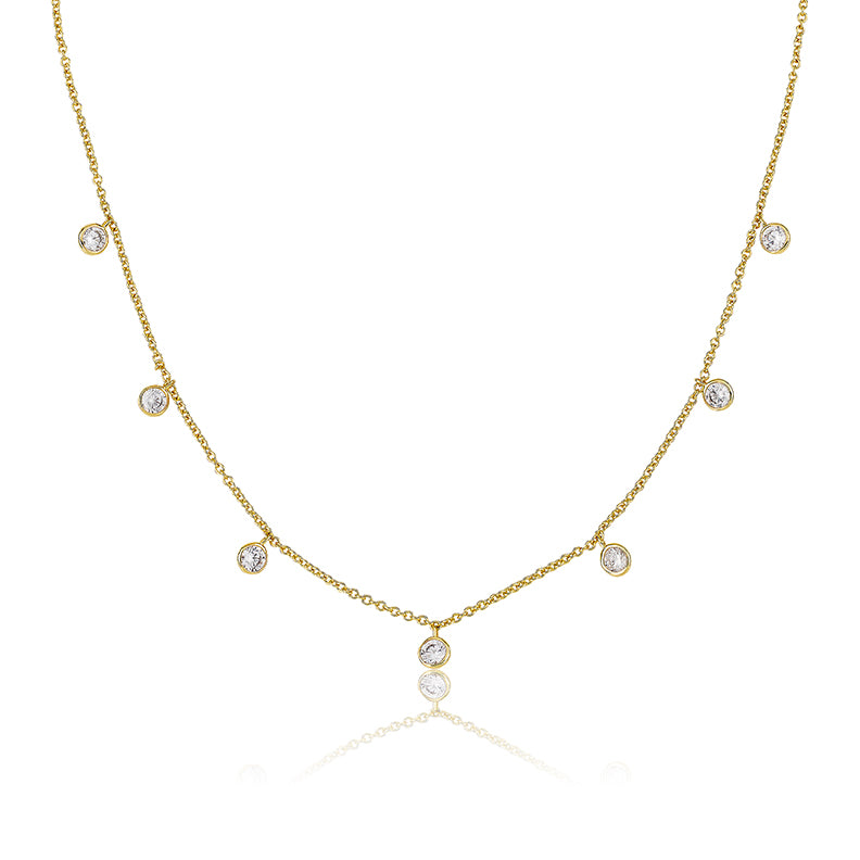 LMTS Classic! 14K Gold Plated CZ Bezel Dangles Chain Necklace