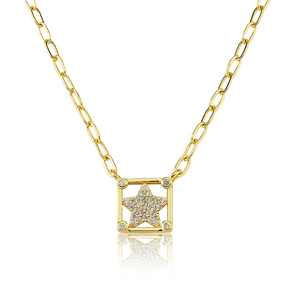 14K Gold Plated Cz Stars In Cz Cornered Links Necklace