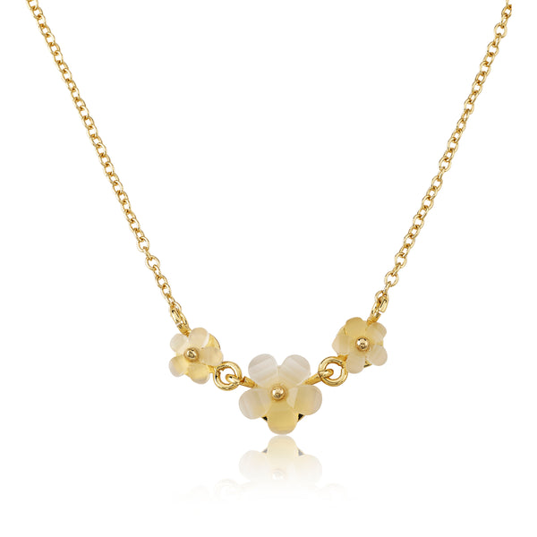 14K Gold Plated Triple Frosted Flowers Chain Necklace