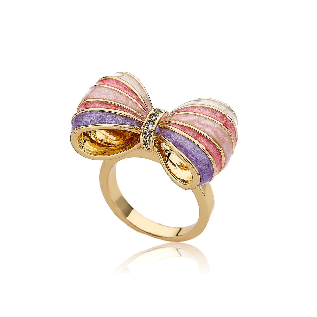 BOW BEAUTIFUL Enamel Striped Bow Ring