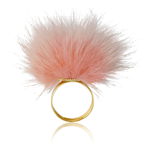 Mileez Fur Pom Pom Adjustable Ring