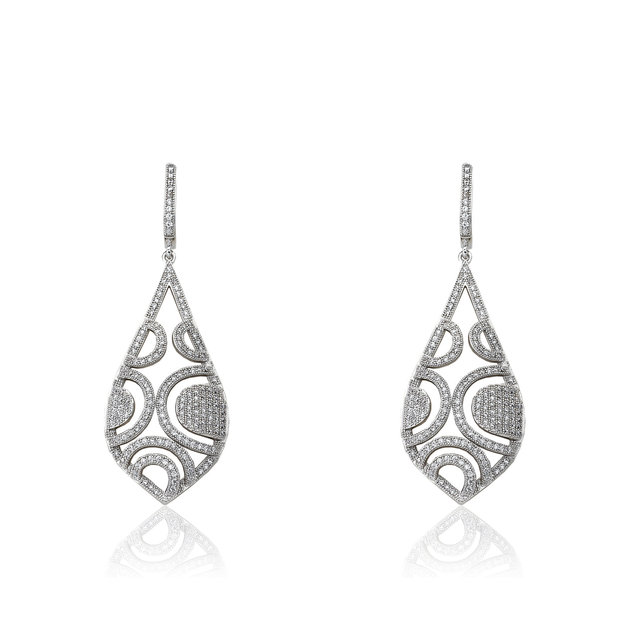 Micro-Pave Exquisite Open Teardrop Dangle Earrings