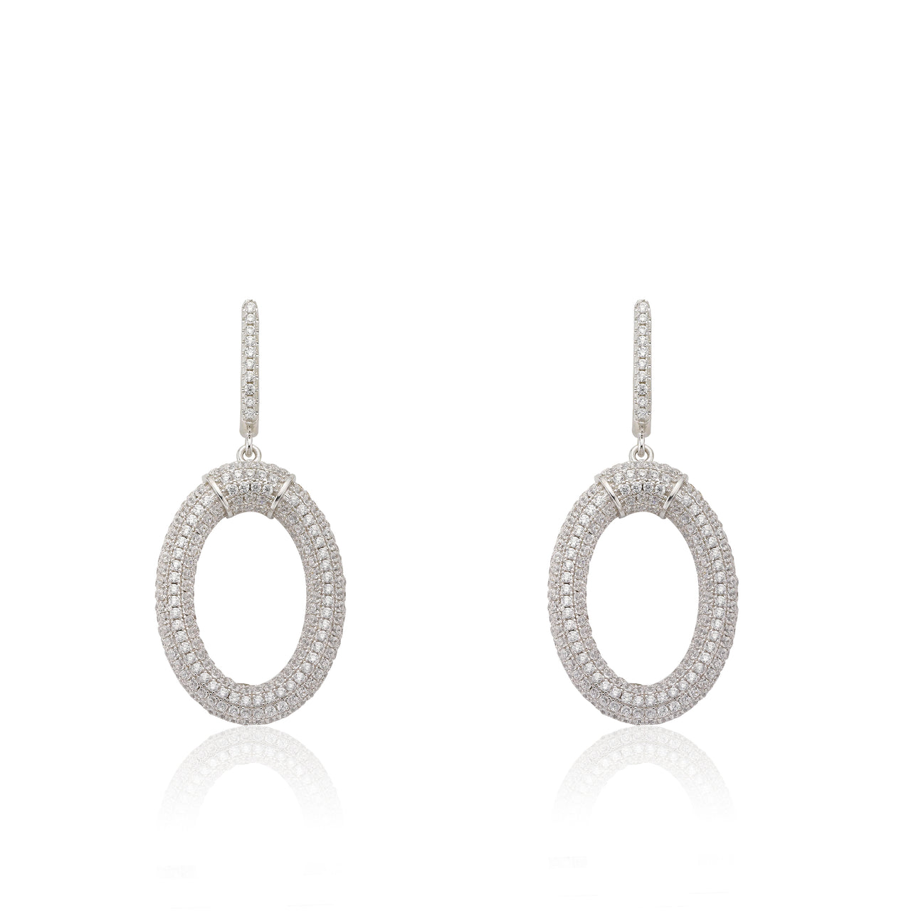 Micro Pave Rhodium O Shaped Earrings