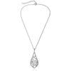 Micro-Pave Exquisite Open Teardrop Pendant Necklace