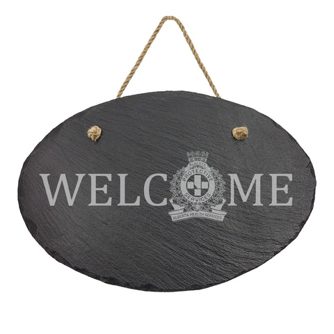 AHS Peace Officer Oval Hanging Slate Decor - Slate Decor - 911 Duty Gear Canada - 911 Duty Gear Canada - Duty Patrol Gear and Gifts. Recessed Leather Badge Wallets and ID Holders, Neck & Belt Badge Holders, Notebook Cover for Evidence, Memo book, Triform Notepads for field interviews.