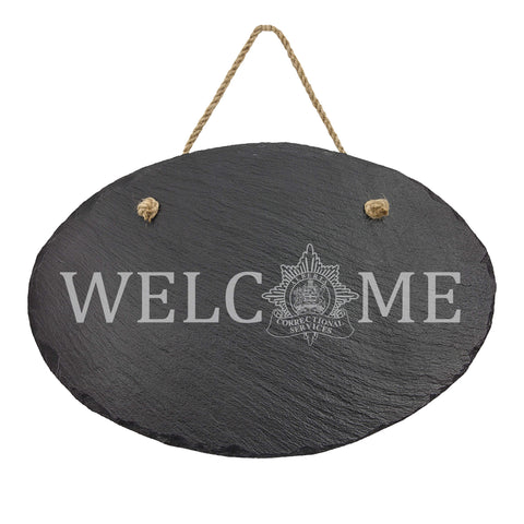 Alberta Corrections Oval Hanging Slate Decor - Slate Decor - 911 Duty Gear Canada - 911 Duty Gear Canada - Duty Patrol Gear and Gifts. Recessed Leather Badge Wallets and ID Holders, Neck & Belt Badge Holders, Notebook Cover for Evidence, Memo book, Triform Notepads for field interviews.