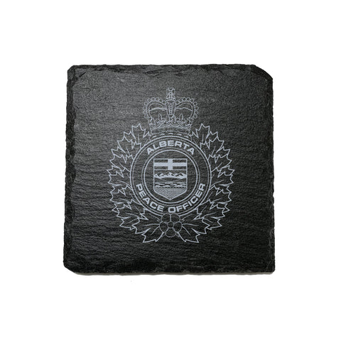 Alberta Peace Officer Stone Slate Coasters - Coaster - 911 Duty Gear - 911 Duty Gear Canada - Duty Patrol Gear and Gifts. Recessed Leather Badge Wallets and ID Holders, Neck & Belt Badge Holders, Notebook Cover for Evidence, Memo book, Triform Notepads for field interviews.