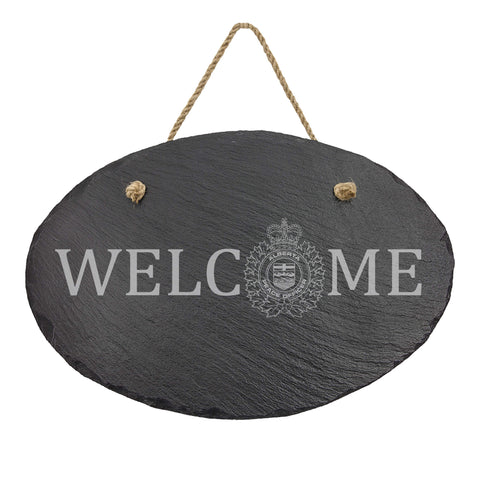Alberta Peace Officer Oval Hanging Slate Decor - Slate Decor - 911 Duty Gear Canada - 911 Duty Gear - Duty Patrol Gear and Gifts
