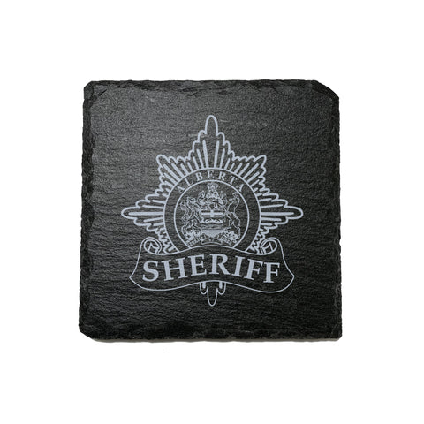 Alberta Sheriff Stone Slate Coasters - Coaster - 911 Duty Gear - 911 Duty Gear Canada - Duty Patrol Gear and Gifts. Recessed Leather Badge Wallets and ID Holders, Neck & Belt Badge Holders, Notebook Cover for Evidence, Memo book, Triform Notepads for field interviews.