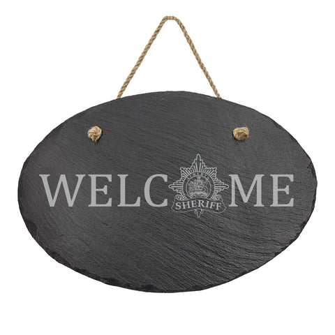 Alberta Sheriff Oval Hanging Slate Decor - Slate Decor - 911 Duty Gear Canada - 911 Duty Gear Canada - Duty Patrol Gear and Gifts. Recessed Leather Badge Wallets and ID Holders, Neck & Belt Badge Holders, Notebook Cover for Evidence, Memo book, Triform Notepads for field interviews.