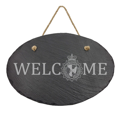 CBSA Oval Hanging Slate Decor - Slate Decor - 911 Duty Gear Canada - 911 Duty Gear Canada - Duty Patrol Gear and Gifts. Recessed Leather Badge Wallets and ID Holders, Neck & Belt Badge Holders, Notebook Cover for Evidence, Memo book, Triform Notepads for field interviews.