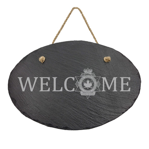 Canada Corrections Oval Hanging Slate Decor - Slate Decor - 911 Duty Gear Canada - 911 Duty Gear Canada - Duty Patrol Gear and Gifts. Recessed Leather Badge Wallets and ID Holders, Neck & Belt Badge Holders, Notebook Cover for Evidence, Memo book, Triform Notepads for field interviews.