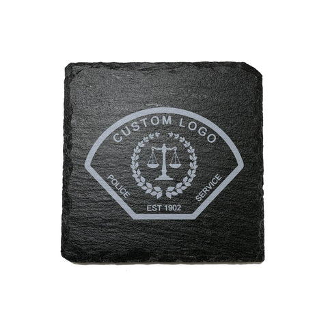 Custom Logo Stone Slate Coasters - Coaster - 911 Duty Gear - 911 Duty Gear Canada - Duty Patrol Gear and Gifts. Recessed Leather Badge Wallets and ID Holders, Neck & Belt Badge Holders, Notebook Cover for Evidence, Memo book, Triform Notepads for field interviews.