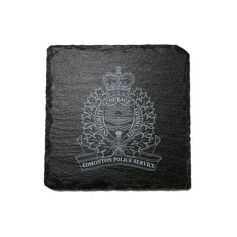 Edmonton Police Stone Slate Coasters - Coaster - 911 Duty Gear - 911 Duty Gear Canada - Duty Patrol Gear and Gifts. Recessed Leather Badge Wallets and ID Holders, Neck & Belt Badge Holders, Notebook Cover for Evidence, Memo book, Triform Notepads for field interviews.