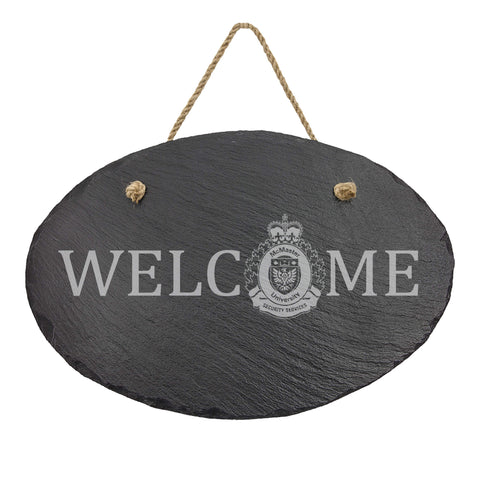 McMaster University Protective Services Oval Hanging Slate Decor-911 Duty Gear Canada-911 Duty Gear Canada