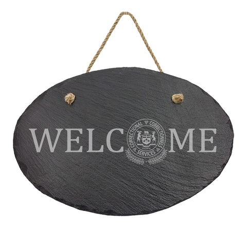 Ontario Corrections Oval Hanging Slate Decor - Slate Decor - 911 Duty Gear Canada - 911 Duty Gear Canada - Duty Patrol Gear and Gifts. Recessed Leather Badge Wallets and ID Holders, Neck & Belt Badge Holders, Notebook Cover for Evidence, Memo book, Triform Notepads for field interviews.